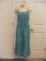 Nwt $299 Newport News Aqua Soft Suede Fully Lined Long Dress Sleeveless Sz 8 - $158.39