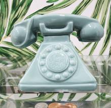 "Vintage Nostalgia Teal Rotary Telephone 7""L Money Coin Piggy Bank Decor - $23.99"