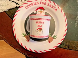 Santa's Cookie Message Plate and Milk Cup Sweet and Simple Child to Cherish - $254,17 MXN