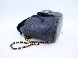 100% AUTHENTIC CHANEL VINTAGE  BLACK QUILTED LAMBSKIN BACKPACK GHW image 6