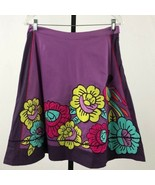 Women's Odille Purple Floral and Bird Embroidered Skirt sz 6 - $57.02