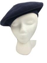 "Vtg Collectif Beret Blue 100% Wool One Size 10.25"" Diameter Hat - $15.29"