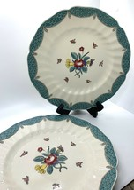 Set of 4 Royal Doulton Lowestoft Bouquet DINNER Plates Blue Green Fish S... - $49.49