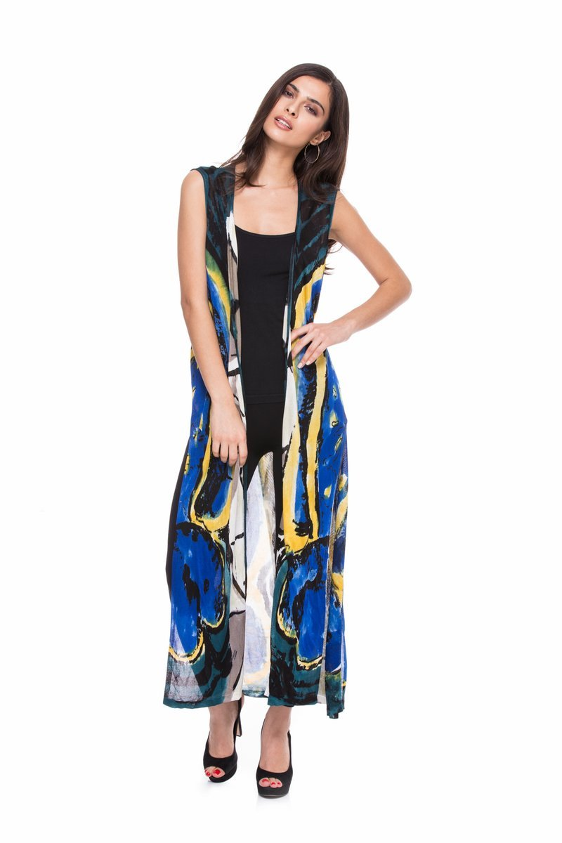 Vibrant Cobalt/Multi Sleeveless Abstract Print Hand-Painted Duster/Vest by Adore