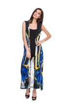 Vibrant Cobalt/Multi Sleeveless Abstract Print Hand-Painted Duster/Vest ... - $69.90