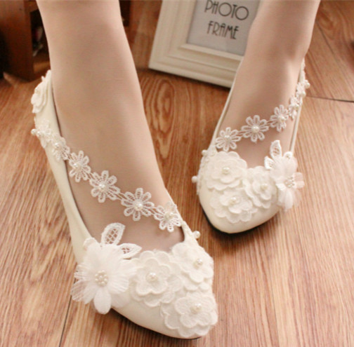Primary image for Ivory White Wedding Ballet Flat with Lace-up Ribbons/Bridal Ribbon Lace Up Shoes