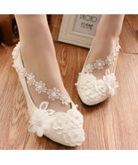 Ivory White Wedding Ballet Flat with Lace-up Ribbons/Bridal Ribbon Lace ... - $38.00