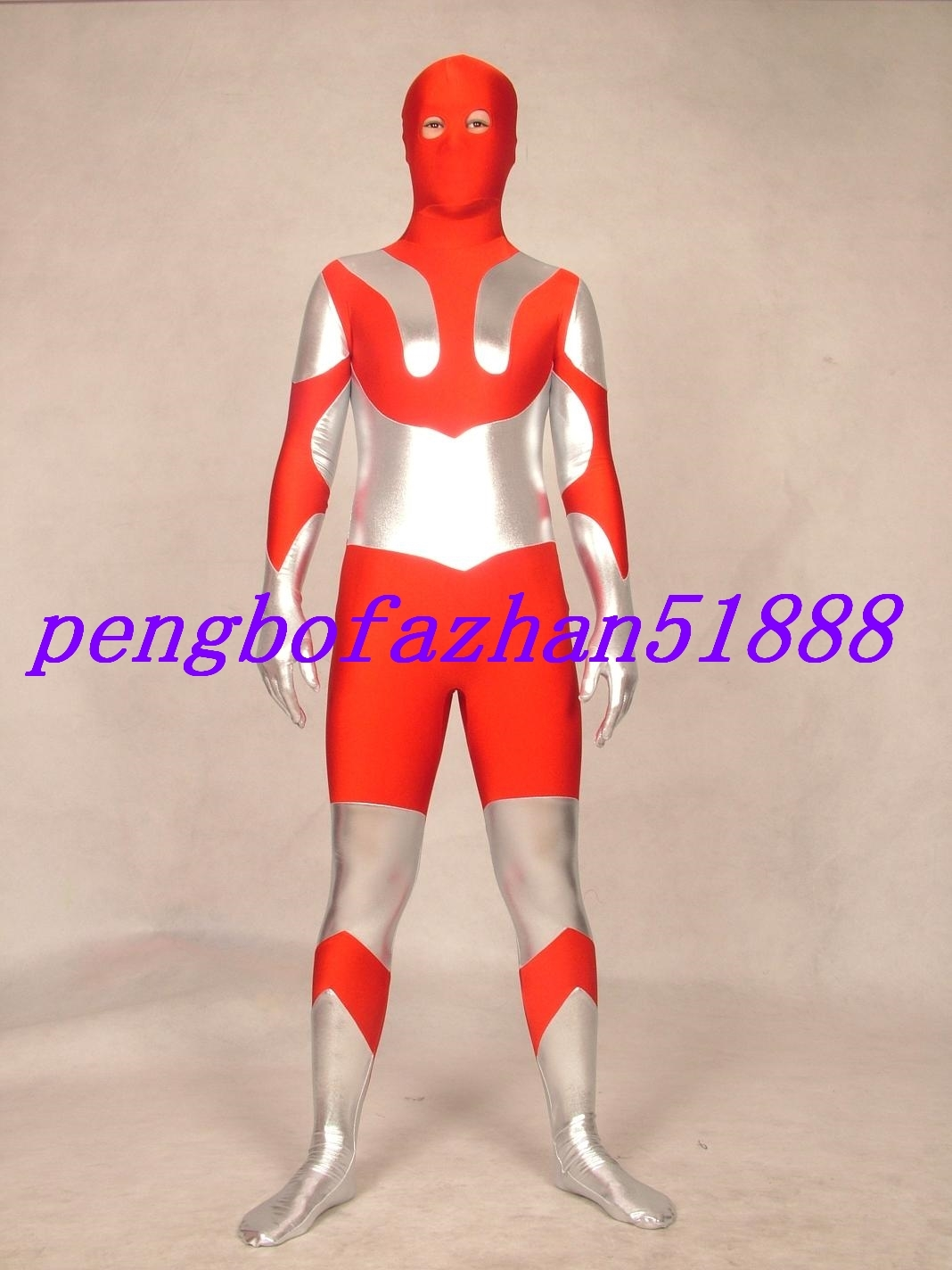 RED/SILVER LYCRA ULTRAMAN SUIT CATSUIT COSTUMES HALLOWEEN COSPLAY SUIT S207