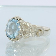 Sky Blue Aquamarine Handmade Sterling Silver Ladies Angels Flower Ring size 7.25 - £105.70 GBP