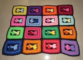 Vintage Crochet Pattern Girl with Bonnet Afghan Blanket