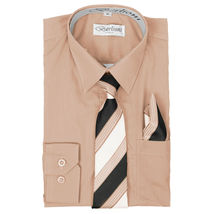 Berlioni Italy Toddlers Kids Boys Long Sleeve Dress Shirt Set With Tie & Hanky image 5