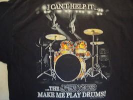 The Little Voices Make Me Play Drums! Drummer Black Cotton T Shirt Size L - $13.85