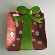 "Vintage Christmas Glass Candy Trinket Dish Gift Box w/ Ribbon Shape 7"" X 6"" - $9.65"