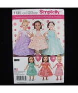 "Simplicity 1135 Elaine Heigl Designs 18"" Doll Clothes Formal Dressy Dres... - $2.99"