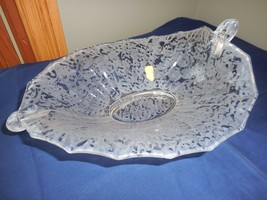 Fenton Ming Crystal Clear Frosted Satin Finish Frosted Console Bowl Glows - $54.99