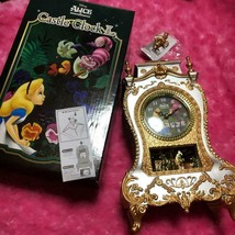 Disney Alice in Wonderland Alice & Cheshire Cat Castle Clock Table Clock... - $56.43