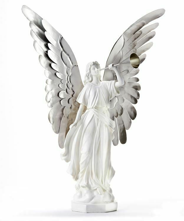 """20.4""""  White Angel with Silver Metal Wings Polyresin"""