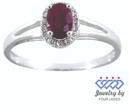 Ruby Ovale Gemma 14K Oro Bianco 0.44CT Naturale Halo Anello Diamante Sot... - $221.86