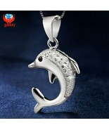 926 Sterling Silver Dolphin Pendant CZ and 925 SS Chain RETAIL $45 - $19.79