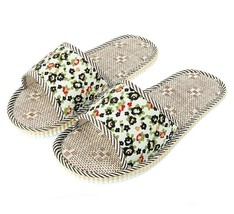 Floral Synthetic Hemp Indoor Slippers Soft Flax Cloth House Floor Flats ... - $7.99