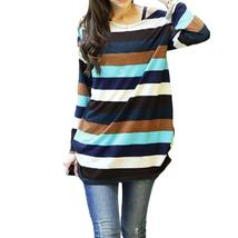 2017 Korean Fashion Women Slouchy Sweater 2017 Autumn Striped Knitted Pu... - $22.59