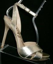 Sam Edelman 'Eliza' gold man made cross strap buckle platform heels 8M - $37.04