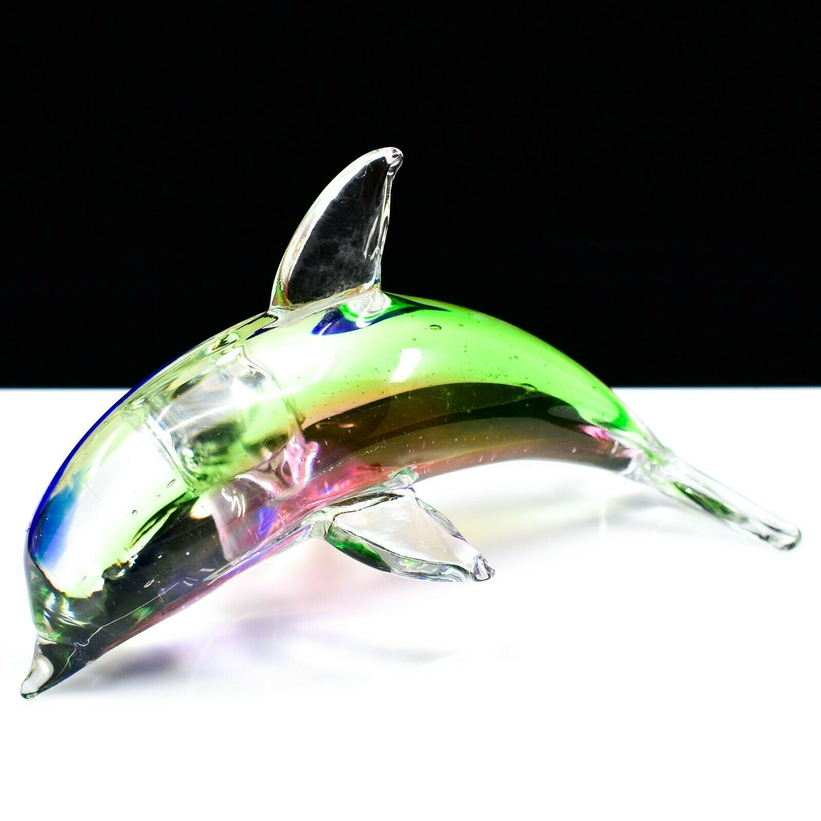 Dynasty Gallery Handmade Rainbow Dolphin Art Glass Figurine Paperweight