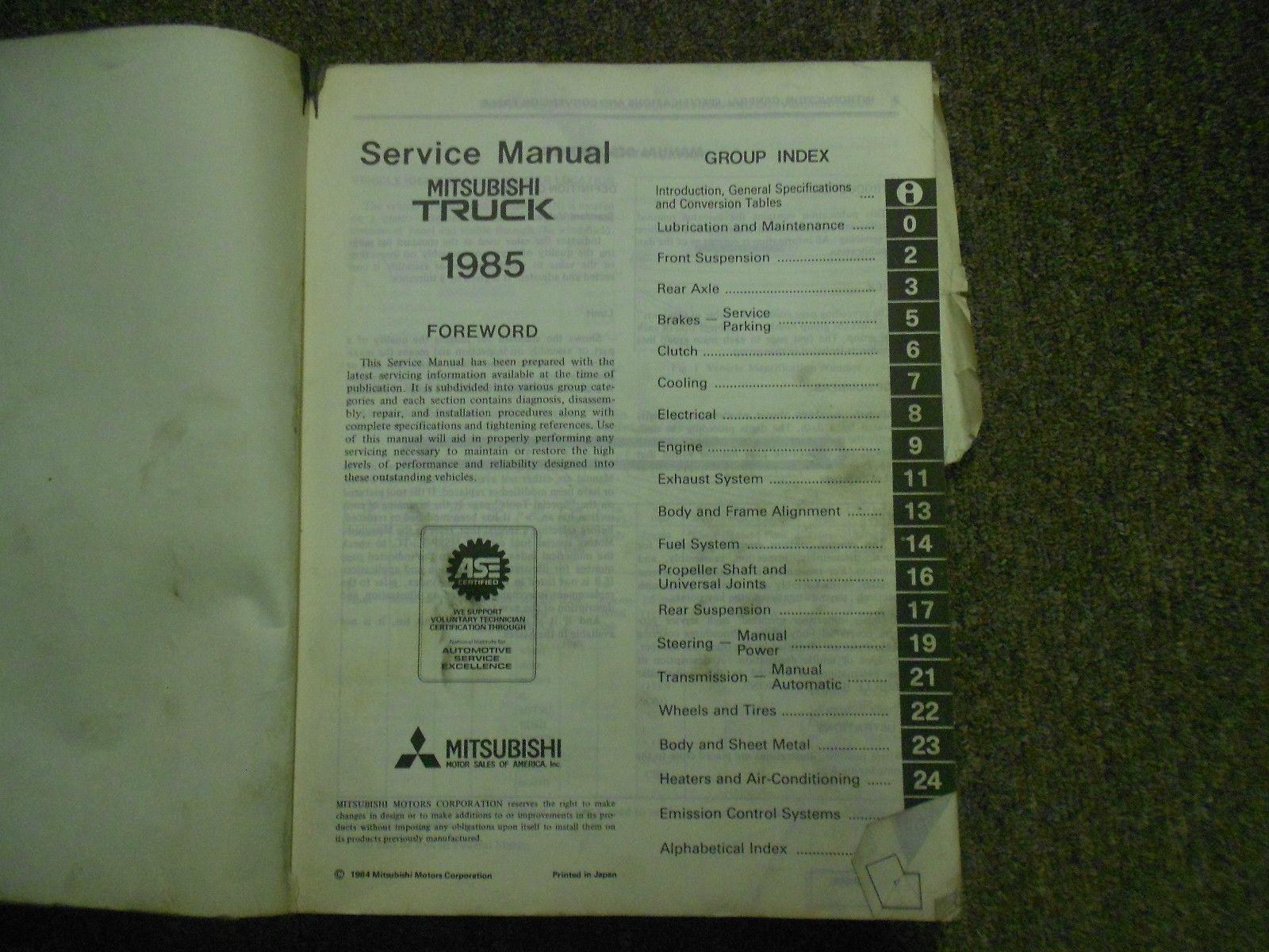 1985 MITSUBISHI Truck Service Repair Shop Manual OEM BOOK 85 FACTORY DAMAGED