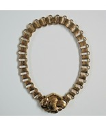 Vintage CORO Collar Necklace Book Chain Gold metal choker Wide 16 inch - $89.09
