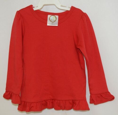 Blanks Boutique Girls Red Long Sleeve Ruffle Tee Shirt Size 2T