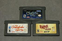 Nintendo Game Boy Advance: 3 Game Lot - Bratz + Cheetah Girls + Charlott... - $10.00