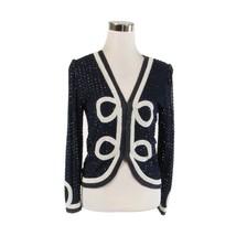 Navy blue white long sleeve beaded vintage jacket S - $49.99