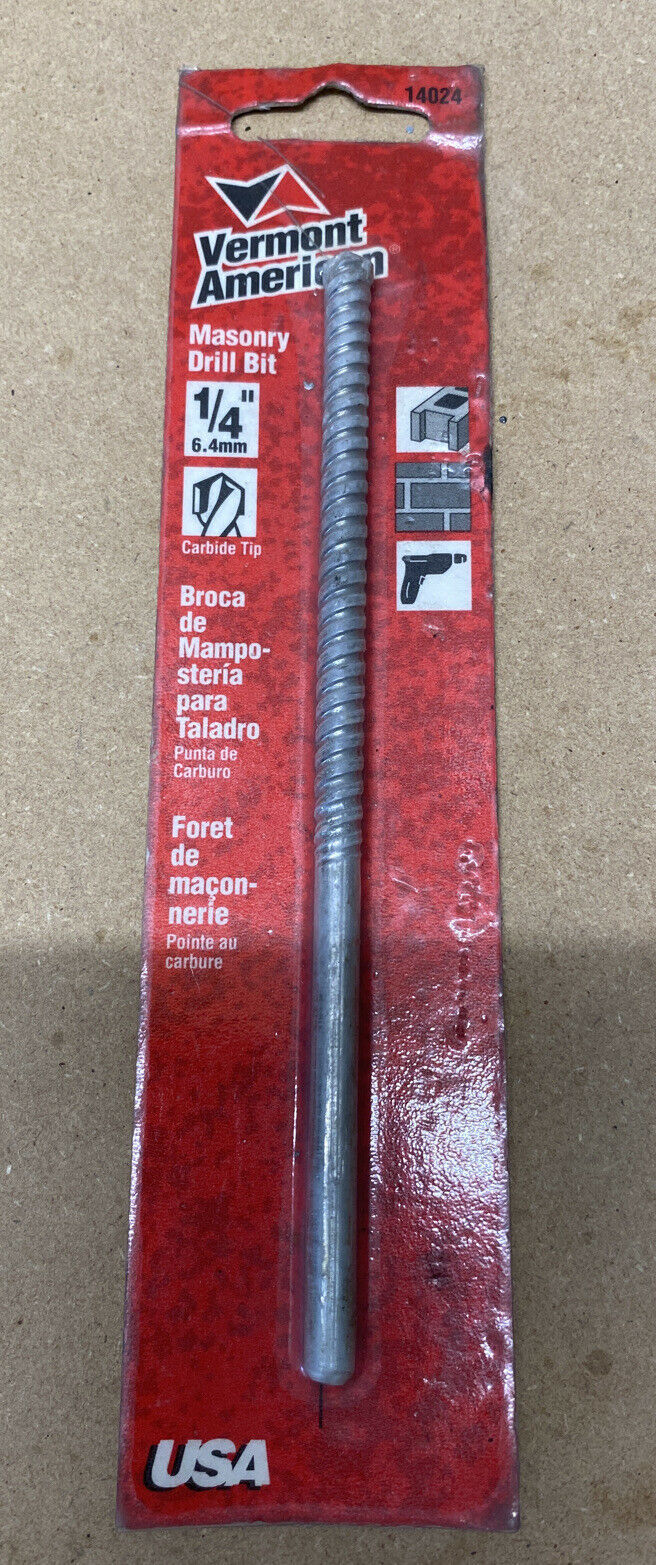 "Primary image for Vermont American 1/4"" Masonry Drill Bit Brand New Made In USA 14024"