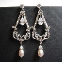 Chandelier Statement Earrings - Pearl Bridal Jewelry - $38.00