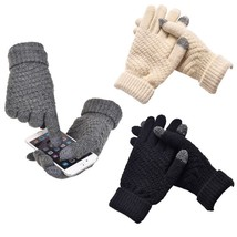 Women Knitted Gloves Men Winter Warm Screen Touchable Wool Mittens - $9.49