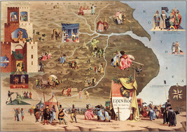 Pictorial Literary Map The tale of Ivanhoe Wall Art Poster Print Literature - $12.38