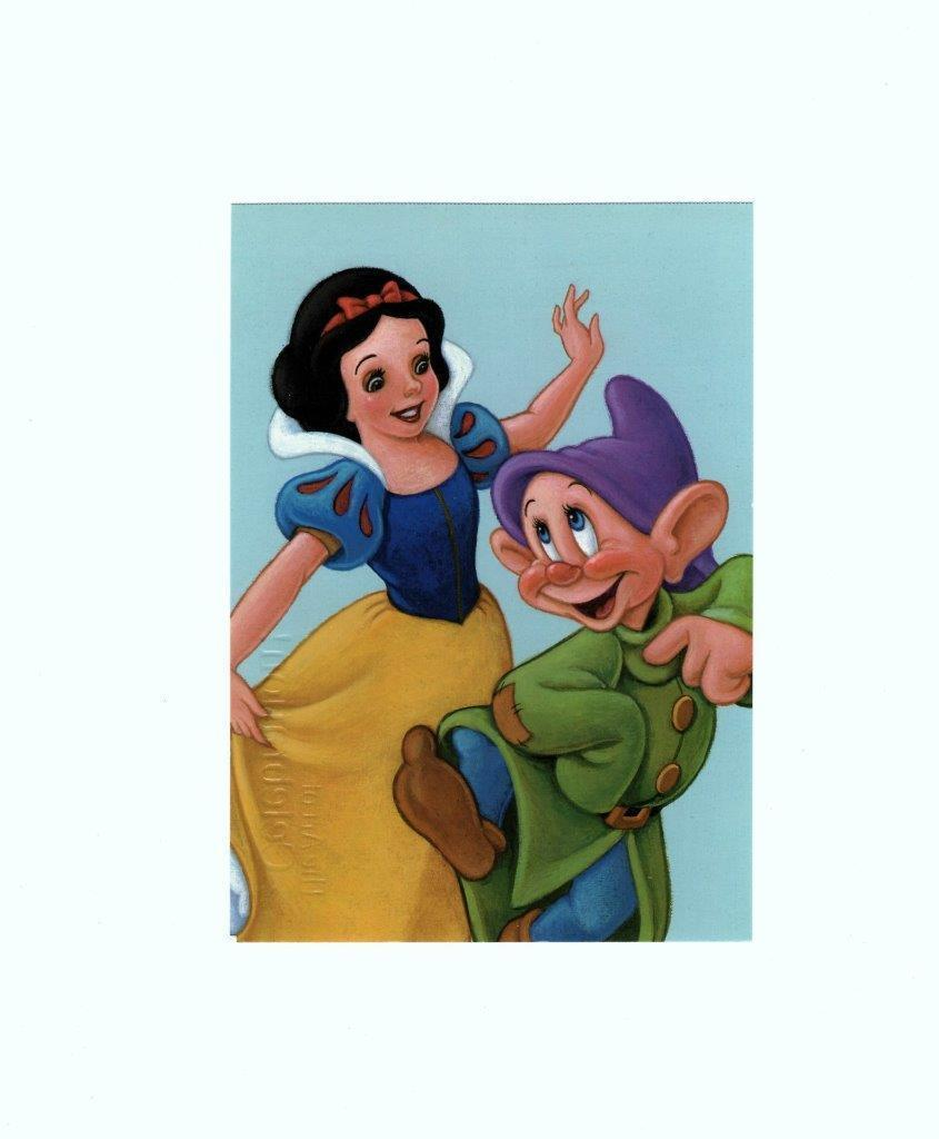 "POSTCARD-""SNOW WHITE AND DOPEY""- THE ART OF CELEBRATION-FIRST DAY OF ISSUE  BK7"