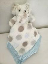 Little Giraffe Elephant Polka Dot Baby Security Blanket Lovey White Blue Tan  - $33.64