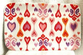 "Williams Sonoma Amour Ikat Heart Rectangular Platter 14 X 8.5"" Nwot #1 - $32.00"