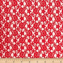 Floral Lace Red Fabric By The Yard - $6.44