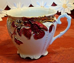 Antique Teacup Burgundy Raised Flowers on White Porcelain 670 Very Detailed