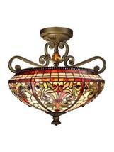Dale Tiffany TH13090 Baroque Semi Flush Mount Light Fixture, Antique Gol... - $465.99