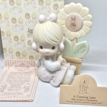 Precious Moments A Growing Love Girl with Sunflower 1988 Symbol of Membership - $11.26