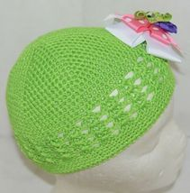 Unbranded Infant Toddler Lime Green Hat Stretch Removable Bow Multicolor image 3