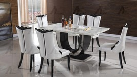American Eagle Furniture DT-H802 CK-H610-W Classic Marble Top Dining Set 5 Pcs
