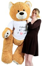 Big Plush Giant Love Teddy Bear 55 Inches Honey Brown Color Wears Tshirt... - $97.11