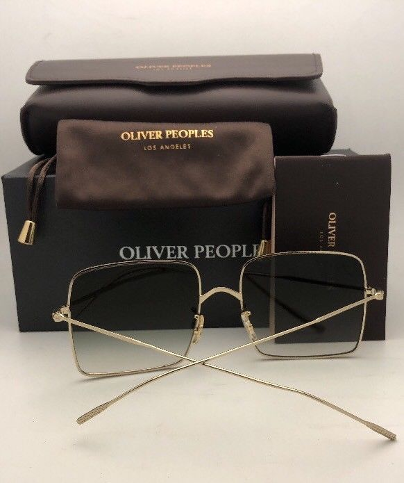 New OLIVER PEOPLES Sunglasses RAYETTE OV 1232S 50358E Gold Cat Eye w/ Olive Fade