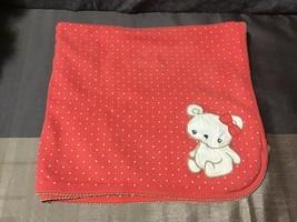 Gymboree Salmon Color Polka Dot White Teddy Bear Baby Cotton Blanket HTF - $37.62