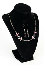 Vintage Pink Dove Shell Purple Glass Fashion Statement Necklace Earring ... - $19.76