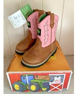 New Pink and Tan Johnny Popper Toddler John Deere Boots Size 5.5M JD1185 - $68.95